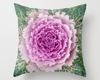 Purple / White Cabbage - Throw Photo Pillow [toronto vegetable kitchen decor foodie gift cactus bloom vegan product texture gardening cover]