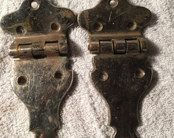 Antique Set of Large Chromed Gate Hinges