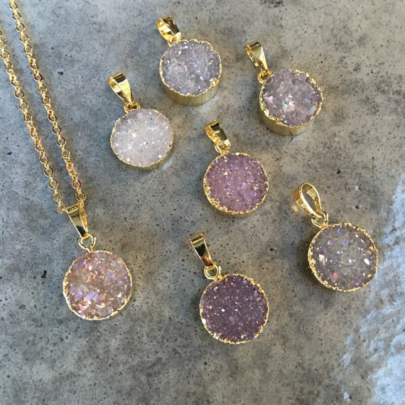 Quartz Druzy Necklaces, Crystal necklaces, boho jewelry
