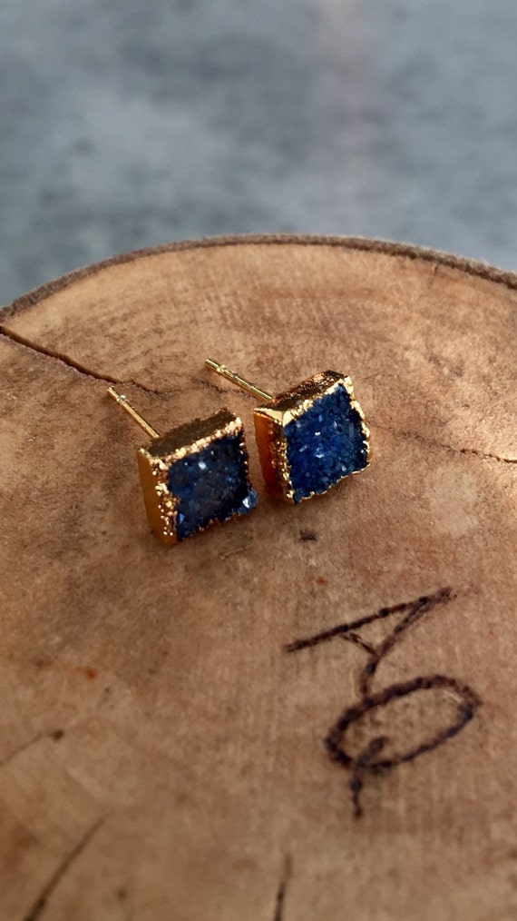 Blue Druzy earrings, druzy jewelry, aunt gift, bridesmaids gift