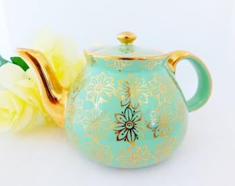 Hall Aqua Blue Tea Pot USA, Eight Cup Tea Pot, Vintage Blue and Gold Tea Pot