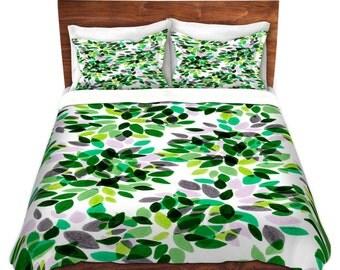 DAHLIA DOTS 4 Green Grey Duvet Cover Floral Polka Dots, King Queen Twin Size Decor Flower Pattern Bedding Garden Colorful Bedroom Decor