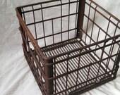 Vintage milk crate , metal milk crate , industrial milk crate , rusty metal crate