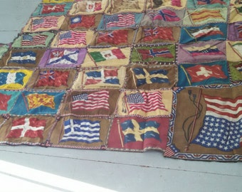 Reserved for Texastinsel , Antique tobacco flannel quilt , antique textile quilt , 1910's tobaciana , tobacco textile quilt