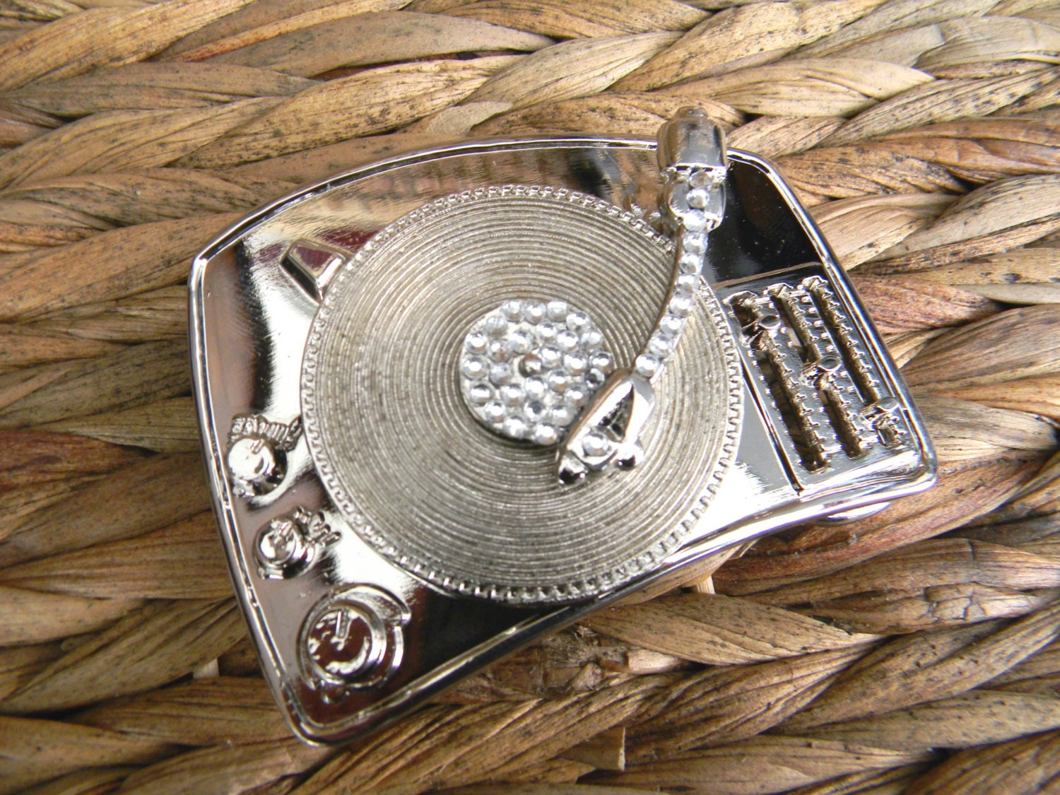 Record Player Silver Belt Buckle Turntable Vinyl Record