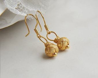 Fine Silver Gold Knotted Ball Dangle Earrings Simple Bridal Jewelry Vintage Wedding Authentic Turkish Jewelry Kazaziye Earrings Gift For Her