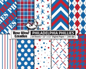10 Philadelphia Phillies Digital Papers for Scrapbooking, Digital Paper, Digital Scrapbook Paper, Printable Sheets, Baseball, Patterns