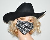 Surgical face mask, black and white zigzag, Nurse, groomer, cleaner, walker, flu season, wind protection