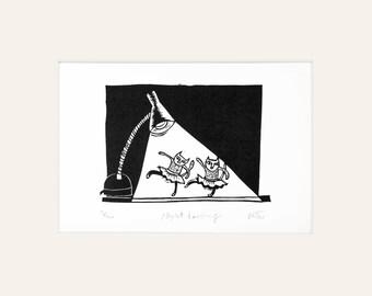 Night Dancing - lino print of cats