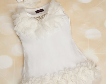 Baby Girl Dress Cotton Infant White Dress with Off White Chiffon  and Rhinestone Collar