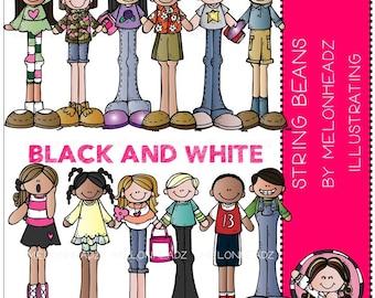 String Beans clip art - BLACK AND WHITE