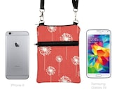 iPhone 6 Plus Shoulder Bag, Samsung Note 5 Case Crossbody, Smartphone Purse, Cell Phone Purse, Small Cross Body Bag  - coral red dandelions