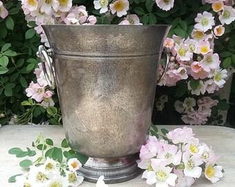 Hallmarked Silver Champagne Ice Bucket, French Bistro Ring Handles