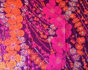 3 Yards Amazing Neon Vintage Hawaiian Bark Cloth Fabric Fluorescent Hot Pink and Tangerine Orange Daisy Flowers Batik Print Cute Bright Fun