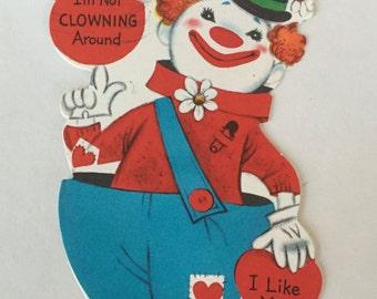 Vintage Valentine / CLOWN Valentine 1930's-1940's Used Hallmark Valentine