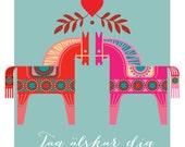 Dala horses print, Swedish Dala horses, I love you, Ja älskar dig, Mid Century Style Valentine, scandinavian design, Traditional Swedish