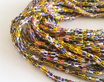 Multi-coloured striped Handmade African Waist Bead (Thick) *per one strand*