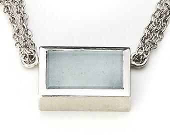 Chain, 925/000 Silver, aquamarine, light blue.