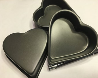4 small Heart Baking Pans, 95 mm (BR104)