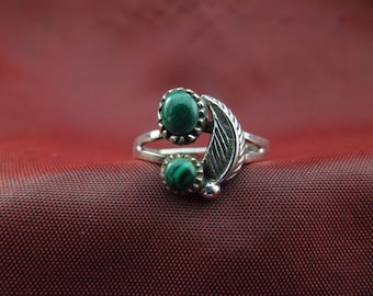 Vintage Silver Ring.  Sterling Silver with Two Green Stones, Stamped 925, Size 7,  Petite Design, Pretty