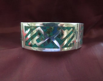 Vintage Sterling Silver Bracelet with Turquoise, Taxco Casteneda Mexico.  Beautiful Piece.