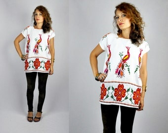 Mexican Embroidered Blouse - Mexican Blouse - Flowers Birds Embroidered Blouse - Cross Stitches Blouse Back & Front Boho Gypsy Festival S M