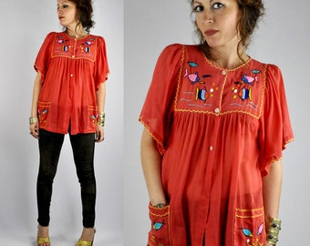 Fishes Hand Embroidered Blouse with Pockets Boho Thin Cotton Gauze Mexican Hippie Festival Sheer Thin Bell Sleeves size S - M