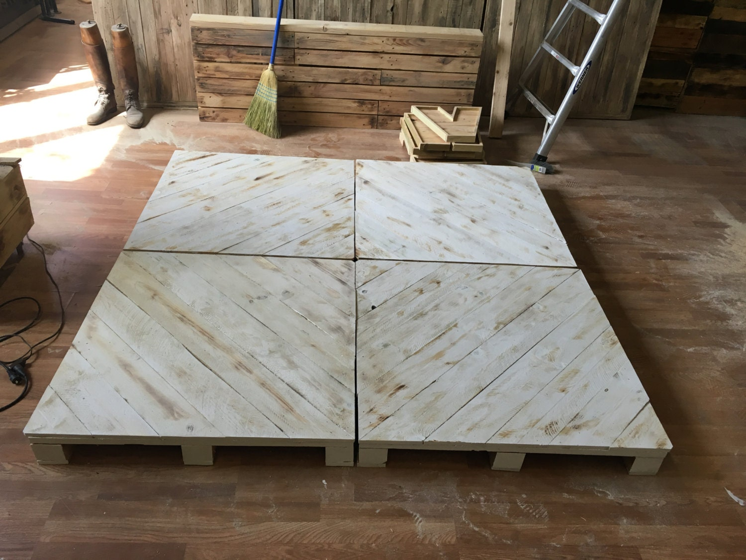 Chevron whitewash pallet platform bed available in queen king for Platform bed made from pallets