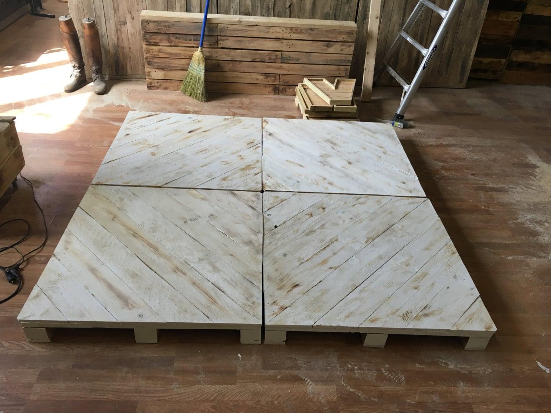 Chevron whitewash pallet platform bed available in queen king for Pallet platform