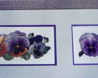 The Silver Lining Cross Stitch Chart,Fancy Pansy 1 & 2, Marc Saastad, Gorgeous Purple Pansies
