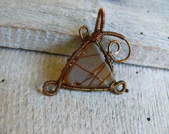 Wire wrapped, Amber pendant, sea glass pendant, Birthday gift, sea glass jewelry pendant, genuine sea glass, brown copper wire, sea mermaid