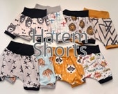 YOU CHOOSE Premium Organic Cotton Infant/Toddler Harem Shorts with contrasting Waistband and Leg cuffs