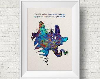 Dr Seuss Quote, Horton Hears A Who, Children's Print, Kids room, Home Decor, Wall art, Watercolor, Horton, Colorful