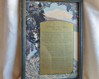 """Vintage framed poem, """"Out Where the West Begins"""" by Arthur Chapman"""