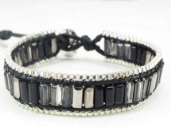 Crystal black cotton bracelet.
