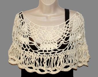 Crochet Capelet, Ivory Bridal Capelet, Ivory poncho, Bridal Shawl, Cotton Shawl, Womens Shawl, Crochet Shawl, Womens Shawlette, Bride Poncho