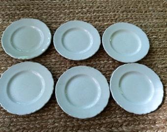 White Plates- White Caribe China Plates Set of Six- Restaurant Dishes- White Ironstone Plates