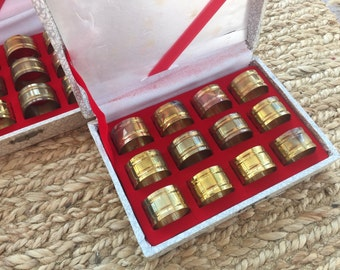 Vintage Set of 12 Brass Napkin Rings