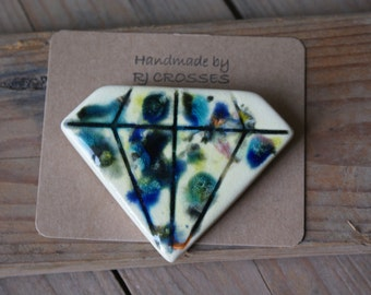 Crystal glazed ceramic diamond brooch