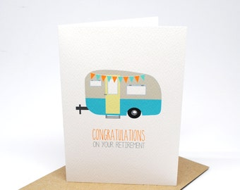 Retirement Card   Work Retirement Cards   Caravan Camper Retirement with Bunting   OYR008   Congratulations on your Retirement Wishes  