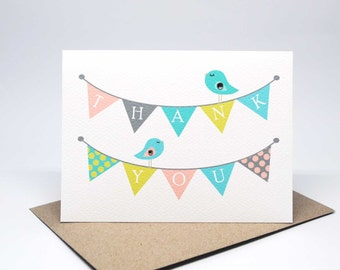 Thank You Card - Thank You Bunting with 2 Birds - THY025 / Card Thank You