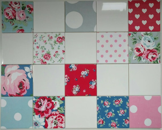 12 x 100mm shabby chic ceramic wall tiles in cath kidston