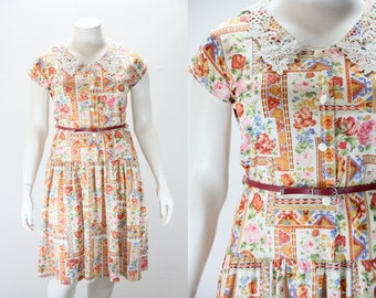 XXL Vintage Dress - French Made Floral and Tribal Print