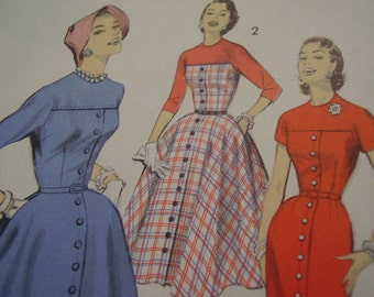 SALE Vintage 1950's Advance 7888 Dress Sewing Pattern, Size 12, Bust 32