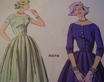 SALE Vintage 1950's Advance 8375 Dress Sewing Pattern, Size 12, Bust 32
