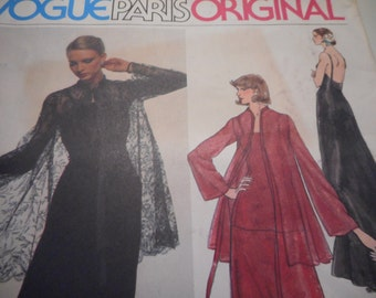 Vintage 1970's Vogue Paris Original 1552 Yves Saint Laurent Dress and Jacket Sewing Pattern, Size 8 Bust 31 1/2