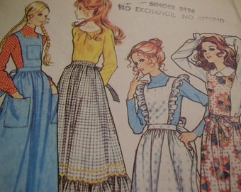 Vintage 1970's McCall's 2925 Pinafores and Apron Sewing Pattern, Size Small, Waist 23-24