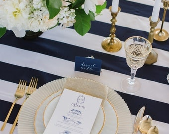 Navy and White,1 DAY FREESHIP, Navy, Striped Tablerunner, Nautical, Beach wedding, bridal shower, Baby, country club, Memorial Day