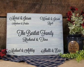 Personalized Family Sign Custom Made with your Family Tree Information Rustic Style Laser Engraved Distressed & Antiqued Family Names Sign