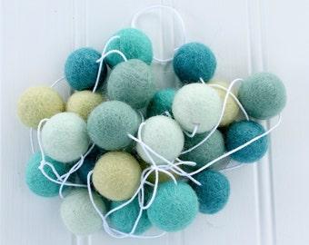 Felt Ball Garland: Oceanic, Pom Pom Garland, Kids Room Garland, Summer Garland, Summer Decor, Nursery Decor, Light Blue Garland, Felt Balls